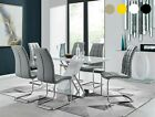 SORRENTO White Grey High Gloss Chrome Dining Table Set & 6 Leather Chairs Seat