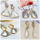 Fashion Crystal Drop Earrings Women 18k Yellow Gold Plated Jewelry A Pair/set image