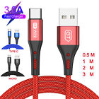 Micro USB Type c Cable 1m/2m/3m Charger Data Sync Braided For Samsung Android