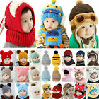 Toddler Kids Baby Boy Girl Infant Winter Warm Crochet Knit Beanie Hat Cap Scarf