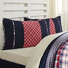 VHC Brands Farmhouse King Pillow Sham Cotton Red Blue Hand Quilted Patchwork image