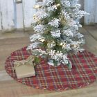 Vhc Rustic Tree Skirt Galway Holiday Decor Red Textured Cotton Plaid Round