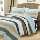 Nesco Striped Purple Green Brown Cotton 3-Piece Quilt Set, Bedspread, Coverlet image