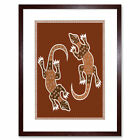 Aboriginal Style Dot Painting Lizard Picture Framed Wall Art Print