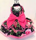 Dog Dress pet rose patterned party dress large rose pattern