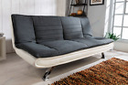 Venice Sofa Bed Padded Charcoal or Egg Grey Fabric White Faux Leather...