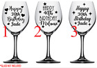 Personalised Vinyl Decal Sticker, Happy Birthday Age, Wine Glass Decal D.i.y