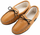 Mens Sheepskin Lined Genuine Leather Moccasin Slippers Made in the UK Brown
