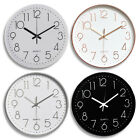12 Modern Quartz Wall Clock Battery Silent Bedroom Office ABS Frame Glass Cover