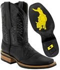 Mens Black Western Cowboy Boots Crocodile Belly Pattern Square Toe Real Leather