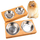 Cat Stainless Steel Pet Bowl Feeders Tableware Double Food Water Dish With Stand