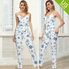 Women 2 Piece Outfit Floral Print Crop Top and Long Pants Casual Style with Belt