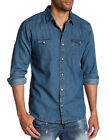 Levis Mens Classic Barstow Western Pearl Snap Casual Denim Dress Shirt