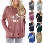 Long Sleeve T Shirt Women's Mama Bear Letters Printed Loose Round Neck 10 Colors