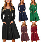 Womens Button Down Skater Dress V Neck Long Sleeve With Pocket Plain Solid Dress
