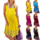 Womens Summer Sleeveless Tank Tops Mini Dress Boho Floral Holiday Beach Sundress