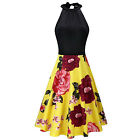 Women's Floral Stand Collar Off Shoulder Sleeveless Cotton Casual Dress Bow Tie
