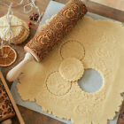 Christmas Pattern Wooden Rolling Pin Carved Wood Embossing Gift Kitchen Tool US