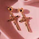 Fashion Cross Drop Earrings Women 14k Rose Gold Plated Jewelry A Pair/set image