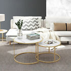 Marble Vein Round Coffee Tables Set Sofa Side Nested End Tables Living Room Home