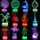 3D Animals Illusion Visual Night Light 7 Colours Change LED Touch Lamp Kids Gift