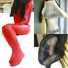 Women 8D Sexy Jumpsuit Bodyhose Mask Hood Shiny Pantyhose Tights Red See through