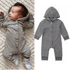 Hooded Button Up Baby Romper ~ Stay Cute and Warm!