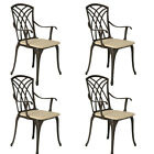 Cast Aluminium Garden Chairs Furniture Set Patio With Cushion Outdoor