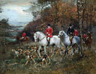 FRAMED CANVAS PRINT PAINTING FOX HUNT HUNTING DOGS ANTIQUE 3