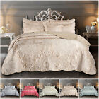 3 Piece Luxury Satin Bed Throws Bedspread Quilted Comforter Quilts Bedspreads UK