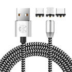 US 360° Magnetic 1M 2M 3M Micro USB Type C iOS 2.4A LED Fast Charger Cable Cord