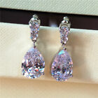 Elegant 925 Silver Drop Earrings for Women Jewelry White Sapphire A Pair/set image