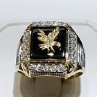 Eagle Two Tone 925 Silver Rings For Men Jewelry Wedding Party Ring Size 7-13