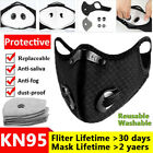 Washable Double Breathing Valve Reusable Face Mask With Activated Carbon Filters