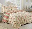 Vintage Rose Floral 100 Cotton 3-Piece Reversible Quilt Set, Bedspread, Coverlet