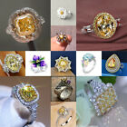 Delicate 925 Silver Ring Citrine Retro Hollow Diamond Jewelry Wedding Size 6-11