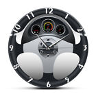 Sport Car Steering Wheel and Dashboard Printed Wall Clock Automobile Watch Decor