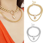 Metal Heart Pendant Chunky Punk Thick Curb Chain Double Layer Necklace Jewelry