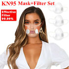 Clear Face Mask & Replaceable Fliter Mouth Cover Anti-droplets Purify Respirator