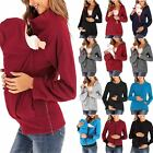 Women Maternity Winter Pouch Carrier Hoodie Kangaroo Zip Pregnant Coat Jacket US