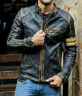 Внешний вид - Men's Motorcycle Biker Vintage Cafe Racer Distressed Black Real Leather Jacket