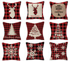Christmas red plaid linen Throw Pillow case/snowflake/elk/Christmas tree pattern
