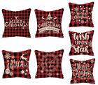 Christmas red and black plaid linen Throw Pillow cover, New year Home Decoration