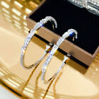 Gorgeous Hoop Earrings Women 925 Silver Jewelry White Sapphire Free Shipping