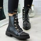 LADIES WOMENS MILITARY BOOTS ARMY COMBAT ANKLE LACE UP FLAT BIKER ZIP SIZES UK