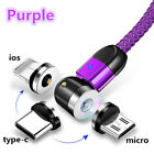 540 °Rotating Magnetic Charge Cable For Type-C Samsung 10 20 Micro-USB iOS 8 Lot