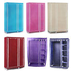 Foldable Double Canvas Wardrobe Clothes Rail Hanging Storage Cupboard Shelv D1D7