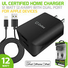 Apple Lightning Cable Wall Charger Dual USB Port Power Adapter iPhone 12 11 Pro