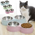 Dog Cat Double Bowl Puppy Food Water Feeder Pets Drinking Dish Stainless Steel