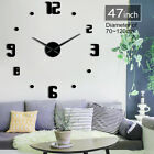 Creative Numbers Giant DIY Frameless Wall Clock with Mirror Effect Wall Sticker